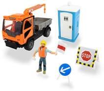 Dickie Toys 203835005 M.T Playlife-Mobile Kran LKW im Set, Kranfahrzeug Ladog T-1700 Spielfigur, beweglicher Kranarm, Straßenschilder, Toilette mit Sound, inkl. Batterien, 21,5 cm, Mehrfarbig