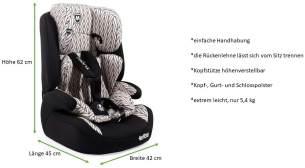 Cangaroo Moni Armor Kindersitz 9-36 kg ohne Isofix, ECE R44/04 Prüfsiegel, schwarz/weißes Linienmuster