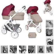 Lorelli Kinderwagen 2 in 1 Monza, EVA-Reifen, Babywanne, Sportsitz rot/beige