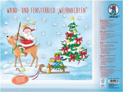 URSUS 21280099F Wand-und Fensterbild Weihnachten, 5 Stanzbögen beidseitig Bedruckt ca. 24,8 x 33 cm, inklusive Klebepads, Klebepunkte und Bastelanleitung, bunt