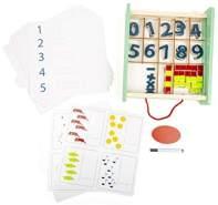 Small Foot 11461 Lernbox Educate aus Holz, FSC100%-Zertifiziert, Mathe Lernen,Aufbewahrungsbox mit Riemen zum Transport Spielzeug, Mehrfarbig