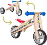 BIKESTAR Mini Kinder Laufrad Holz Lauflernrad mit DREI Rädern für Jungen und Mädchen ab 1 – 1,5 Jahre | 2 in 1 Kinderlaufrad | Kleiner Sheriff | Risikofrei Testen