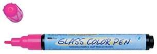 Kreul 42655 - Glass und Porcelain Pen Clear, transparente Glas- und Porzellanmalfarbe auf Wasserbasis mit formstabiler Spitze, Strichstärke ca. 2 - 4 mm, glänzende, lichtechte Farbe, pink