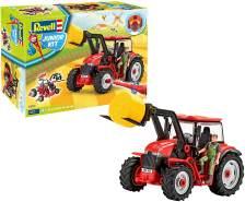 Revell 00815 Junior Kit-Traktor mit Frontlader und Spielfigur 4 der Bausatz mit dem Schraubsystem für Kinder ab 4 Jahre, Bauen-Schrauben-Spielen, mit tollen Funktionen, rot, Länge ca. 28 cm