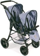 """Bayer Chic 2000 691 50 - Tandem-Buggy """"Twinny"""", Zwillingspuppenwagen für Puppen bis ca. 50 cm, Jeans Blue"""