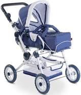 Götz 3402055 Spotty Blue höhenverstellbarer 4-rädriger Puppenwagen in blau / weiß - passend für alle Puppen bis 50 cm - für Kinder ab 3 Jahren