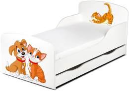 Leomark Kinderbett 70x140 cm, Hund und Katze, mit Matratze, Schublade und Lattenrost
