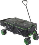 Faltbarer Bollerwagen HWC-E62, Handwagen, Geländereifen klappbar ~ mit Hecktasche/Abdeckung + Kühltasche schwarz/grün