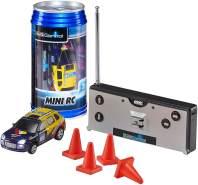 Revell Control 23536 - Mini RC Car in Dosenverpackung, Verpackung ähnelt einer Cola-Dose, kleines ferngesteuertes RC Auto, 27 MHz-Fernsteuerung mit Ladefunktion, Pylonen - Van in blau/gelb