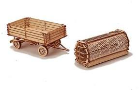 Wood Trick - Holz Modellbau Tractor Trailer Traktor Anhänger 153 Teile