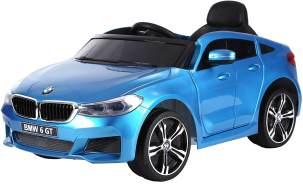 "Kinderfahrzeug - Elektro Auto ""BMW 6GT"" - lizenziert - 12V, 2 Motoren+ 2,4Ghz+ Ledersitz+EVA+ Lackiert Blau"