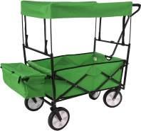 Faltbarer Bollerwagen HWC-E38, Handwagen Gartenwagen Transportwagen klappbar ~ mit Dach/Hecktasche grün