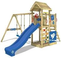 WICKEY Spielturm Klettergerüst MultiFlyer Deluxe mit Schaukel & blauer Rutsche, Kletterturm mit Sandkasten, Leiter & Spiel-Zubehör