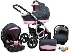 Kinderwagen 3 in1 Kombi Komplettset mit Autositz Buggy Baby Larmax by Chillykids Pannenfreie Gelreifen Light Pink 2in1 ohne Babyschale