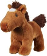 Bauer Spielwaren I Like My Planet - Pferd: Kuscheltier aus softem Plüsch, hergestellt aus recycelten PET-Flaschen, 100 % recycelt, stehend, 15 cm, braun (12918)