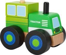Small Foot 11073 Konstruktionsfahrzeug Traktor aus Holz, FSC 100%-Zertifiziert Spielzeug, Mehrfarbig