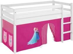 Lilokids 'Jelle' Spielbett 90 x 190 cm, Eiskönigin Rosa, Kiefer massiv, mit Vorhang