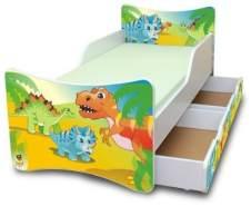 Best For Kids 'Dinosaurier' Kinderbett mit Schaummatratze 90x200 grün