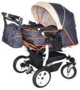 Adbor Duo Zwillingskinderwagen - weißes Gestell, Zwillingswagen, Zwillingsbuggy Farbe Nr. 15w graphit/beige/orange