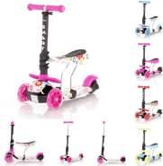 Lorelli Kinderroller Laufrad 2 in 1 Smart PU Räder leuchten klappbar verstellbar, Farbe:pink