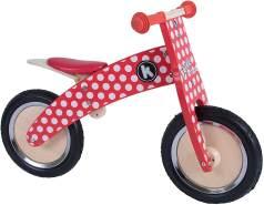 kiddimoto 2kur606 - Premium Laufrad Dotty, Pünktchen rot verstellbar für 3-6 Jahre, rot