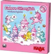 HABA 304539 - Einhorn Glitzerglück - Wolkenstapelei, kooperatives Stapelspiel mit Einhörnern und Wolken aus Holz, Spiel ab 4 Jahren