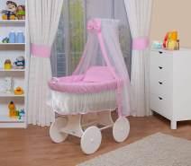 WALDIN Stubenwagen-Set mit Ausstattung Gestell/Räder weiß lackiert, Ausstattung rosa/weiß