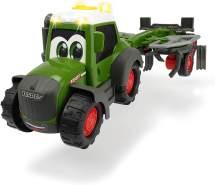 Dickie Toys Happy Fendt Tedder, Traktor mit Heuwender-Anhänger, Spielauto für Kinder ab 1 Jahr, Traktor, Bauernhof, Trecker, Heuwender dreht sich beim Fahren, Licht & Sound, 30 cm
