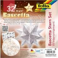 folia 406/2020 - Bastelset Bascetta Stern Winterornament weiß/kupfer, 32 Blatt, 20 x 20 cm, fertige Größe des Papiersterns ca. 30 cm, mit ausführlicher Anleitung - ideal zur zeitlosen Dekoration