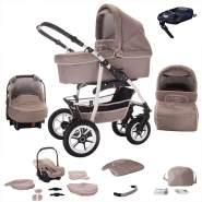 Bebebi Bellami | ISOFIX Basis & Autositz | 4 in 1 Kombi Kinderwagen | Hartgummireifen | Farbe: Bellataupe