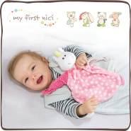 NICI Schmusetuch Bär 'Kleiner Spatz´ 25x25 cm – Schnuffeltuch ab 0+ Monaten – Kuscheltuch für Babys & Kleinkinder – Baby Kuscheltier / Schnuffeltuch – Schmusetuch für Mädchen & Jungen – 40041