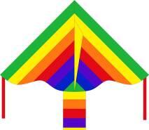 Ecoline 102130 - Simple Flyer Rainbow 85cm Kinderdrachen Einleiner, ab 5 Jahren, 42x85cm und 1.5m Drachenschwanz, inkl. 17kp Polyesterschnur 25m auf Griff, 2-5 Beaufort