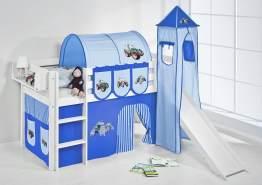Lilokids 'Jelle' Spielbett 90 x 200 cm, Trecker Blau, Kiefer massiv, mit Turm, Rutsche und Vorhang