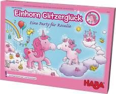 Haba 302767 Einhorn Glitzerglück - eine Party für Rosalie,  bezauberndes kooperatives Lauf- und Sammelspiel für 2 - 4 Spieler von 4 - 99 Jahren, mit einfachen Regeln für schnellen Spielspaß