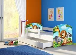 Clamaro 'Fantasia' Kinderbett 'Animals' 80 x 160 cm inkl. Bettkasten, Rausfallschutz, Matratze und Lattenrost
