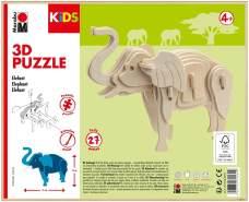 Marabu 317000000024 - KiDS 3D Holzpuzzle Elefant, mit 27 Puzzleteilen aus FSC-zertifiziertem Holz, ca. 16 x 13 cm groß, einfache Stecktechnik, zum individuellen Bemalen und Gestalten