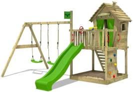 FATMOOSE Spielturm Klettergerüst DonkeyDome mit Schaukel & apfelgrüner Rutsche, Spielhaus mit Sandkasten, Leiter & Spiel-Zubehör