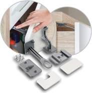 reer Schrank-Sicherung und Schubladen-Sicherung DesignLine 2 Stück, zum kleben oder schrauben, unsichtbar, vom schwäbischen Kindersicherheitsexperten, anthrazit