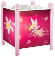 Trousselier - Elfen Prinzessin - Nachtlicht - Magische Laterne - Ideales Geburtsgeschenk - Farbe Holz rosa - animierte Bilder - beruhigendes Licht - 12V 10W Glühbirne inklusive - EU Stecker