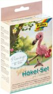 folia 23914 - Mini Häkelset Flamingo, Komplettset zur Erstellung von einem selbst gehäkelten niedlichen Flamingo, ca. 8 - 10 cm groß, für Kinder ab 8 Jahren und Erwachsene, als Geschenk