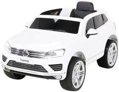 Actionbikes Motors Kinder Elektroauto VW Touareg Kinderfahrzeug, Weiß, Kinder-SUV mit Ledersitz Eva Reifen