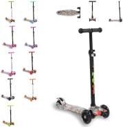 Byox Kinderroller Scooter Rapture aus Alu, Wassertransferdruck, PU Leuchträder türkis
