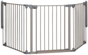 Safety 1st Türschutzgitter, flexibles Absperrgitter mit Tür, 3-teilig, für Türbreiten 82 - 214 cm, Klemmbefestigung, Grau