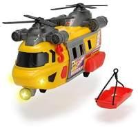 Dickie Toys Rettungshelikopter mit drehbarem Frontlicht & Sound, Helikopter mit Aufzieh-Seilwinde inkl. Trage, Batterien enthalten, 30 cm, ab 3 Jahren