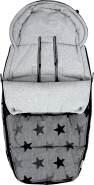 Original Dooky Footmuff Grey Stars Größe L für Buggys & Kinderwagen ab 9 Monate, 98 x 50 cm, winterfest, wasserdicht & winddicht, für 3- und 5-Punkt-Gurte, grau, universell einsetzbar