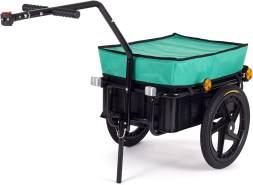 SAMAX Transportanhänger Fahrradanhänger Lastenanhänger Fahrrad Anhänger Handwagen mit Kunststoffwanne für 60 Kg / 70 Liter in Grün
