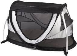 Deryan Peuter Box Reisebettzelt Kinderzelt Babyzelt Reisebettzelt inklusive Schlafmatte und Tragetasche mit Pop-Up innerhalb 2 Sekunden aufgebaut , silver