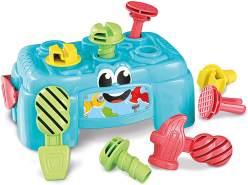 Clementoni 17042 Baby Clementoni - Werkbank,Motorik-Spielzeug aus 100% recyceltem Material zur Entwicklung der Sinne,Werkzeug-Box mit Hammer, Schrauben & Schraubendreher, für Kleinkinder ab 10 Monaten