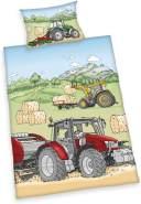 Trecker Flanell Baby Bettwäsche Set Traktor Biber 100x135 cm (40x60 cm)