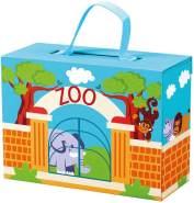 Bino & Mertens -70613 Zoo im Reisekoffer, 13 tlg. bunt. Praktischer Koffer aus Pappe mit Tragegriff für Unterwegs. Mit 12 lustigen, exotischen Tierfiguren aus Holz.ca. 42x17x25 cm.